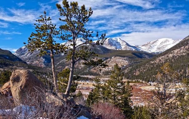 Фото обои лес, небо, облака, снег, деревья, горы, камни