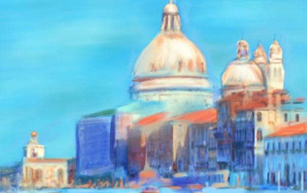 Фото обои пейзаж, картина, Италия, Венеция, собор