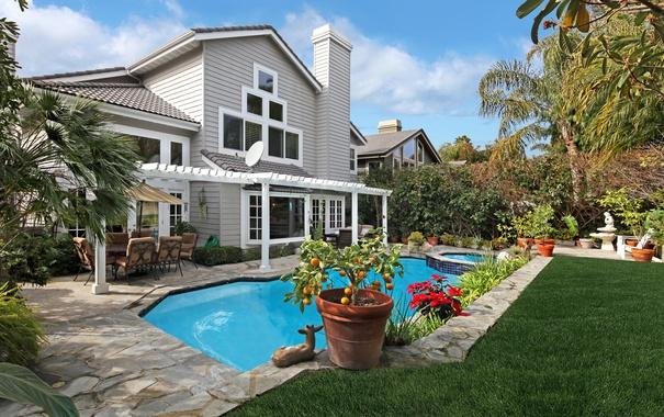 Фото обои деревья, цветы, дизайн, дом, газон, вилла, бассейн