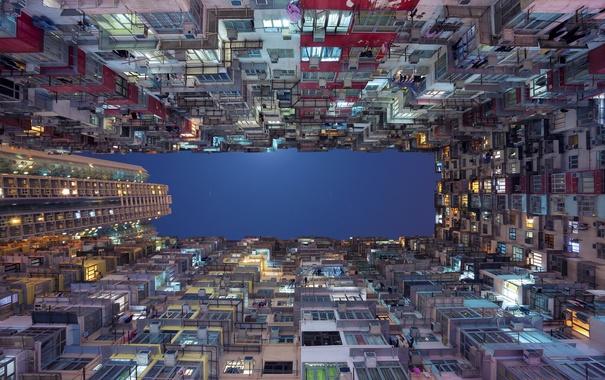 Фото обои Китай, Гонконг, ночь, дома, небо, балкон
