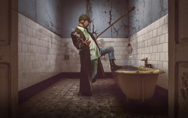 Фото обои человек, рыба, ванна
