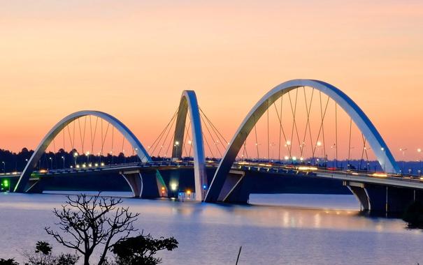 Фото обои огни, вечер, Бразилия, озеро Параноа, мост Жуселину Кубичека