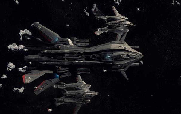 Фото обои космос, звезды, полет, корабль, Star Citizen, Retaliator