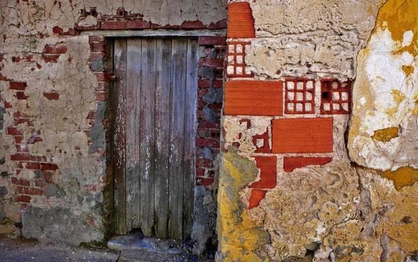 Фото обои дом, стена, дверь