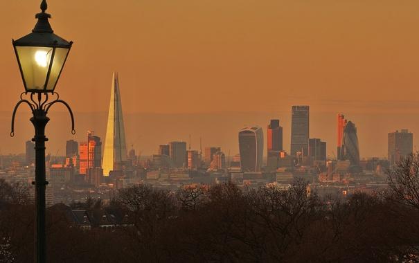 Фото обои Англия, Лондон, башня, дома, панорама, фонарь