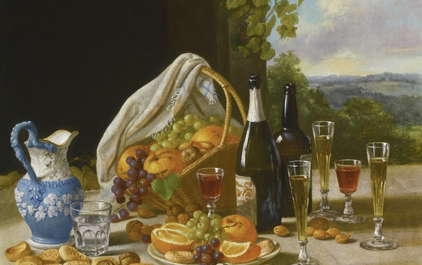 Фото обои стол, вино, корзина, кувшин, фрукты, John F. Francis