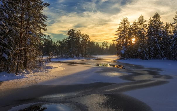 Фото обои зима, свет, река, утро