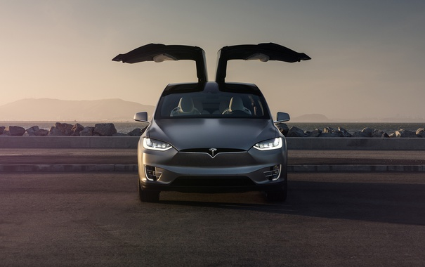 Фото обои Car, Front, Tesla, Model X, Electric, Doors, P90D
