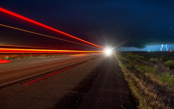Фото обои дорога, ночь, огни