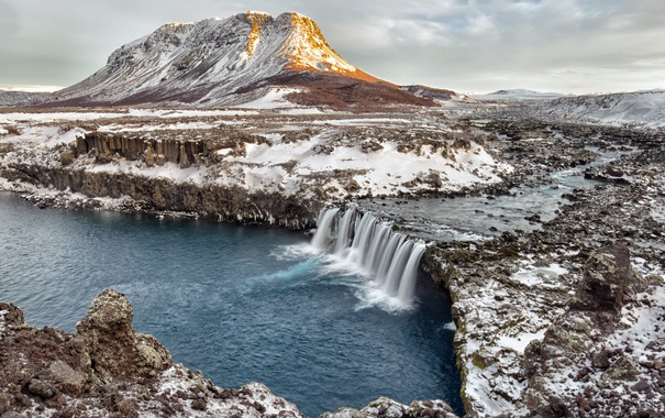 Фото обои winter, waterfall, Iceland, Merkurhraun, lava fields