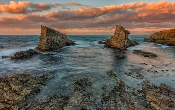Фото обои море, небо, облака, пейзаж, закат, природа