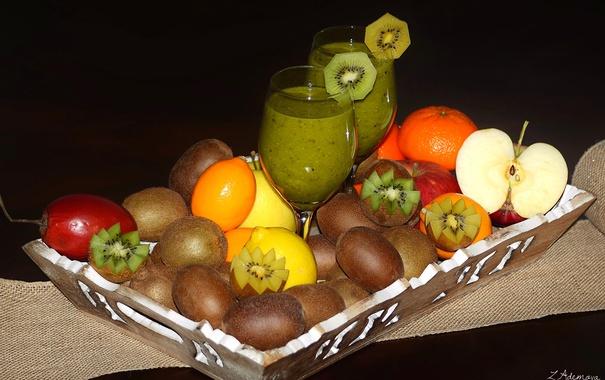 Фото обои яблоко, апельсин, киви, сок, фрукты, поднос, маракуйя