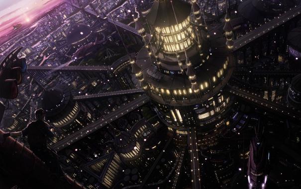 Фото обои город, огни, будущее, здание, дороги, вечер, арт