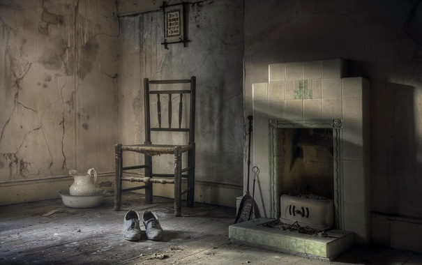 Фото обои комната, стул, туфли, камин