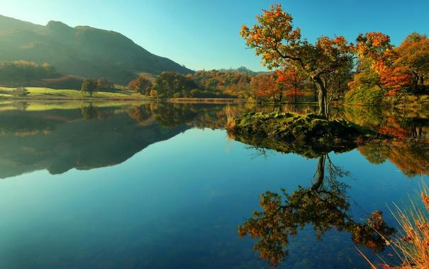 Фото обои осень, деревья, горы, озеро, отражение, поля, Англия