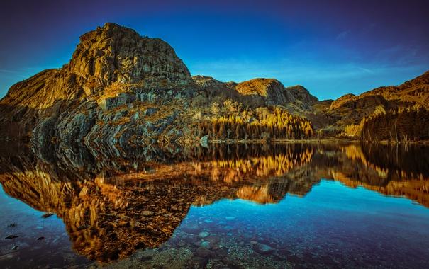 Фото обои вода, деревья, озеро, отражение, камни, скалы, Норвегия