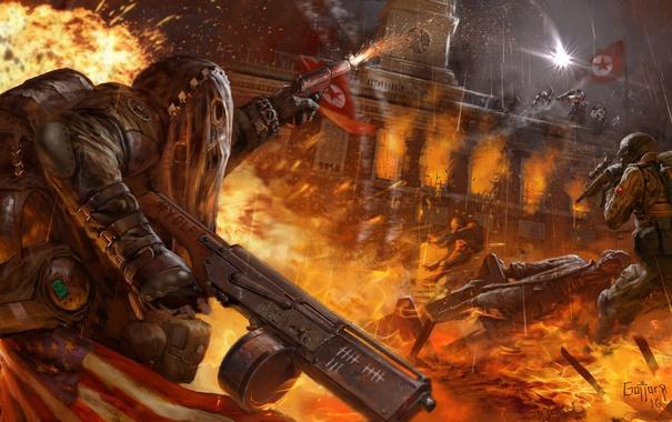 Фото обои огонь, война, игра, арт, автомат, революция, Homefront: The Revolution