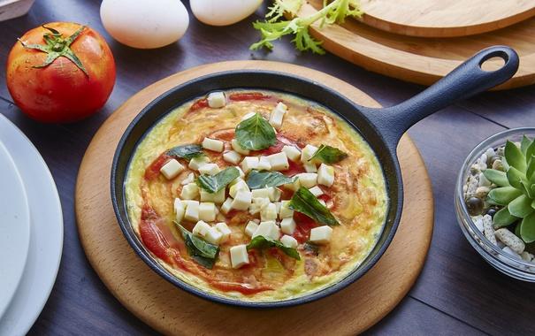 Фото обои яйца, завтрак, сыр, помидор, базилик, омлет