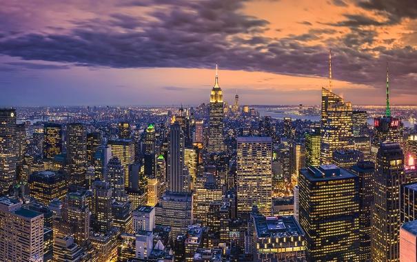 Фото обои Manhattan, New-York, Building, Cityscape, Empire, State, Rockefeller