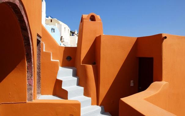 Фото обои дома, Санторини, Греция, ступени