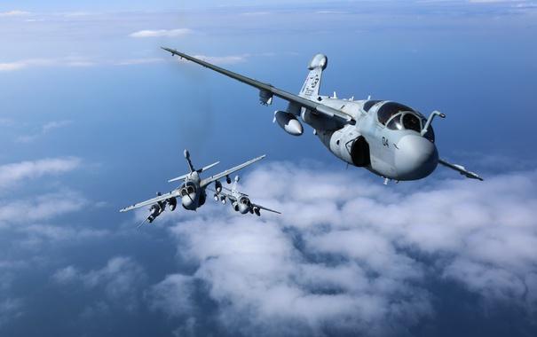 Фото обои облака, полёт, самолёт, Prowler, палубный, EA-6B