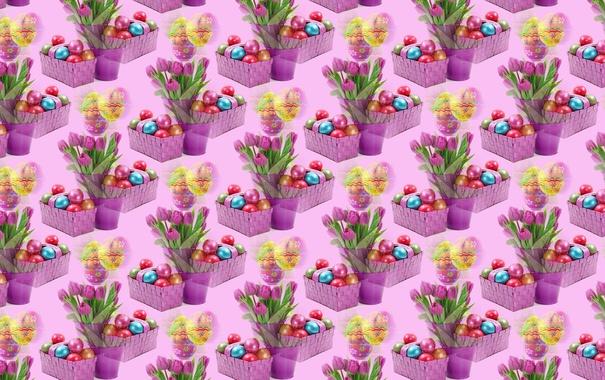Фото обои фон, праздник, тюльпан, яйцо, букет, текстура, Пасха