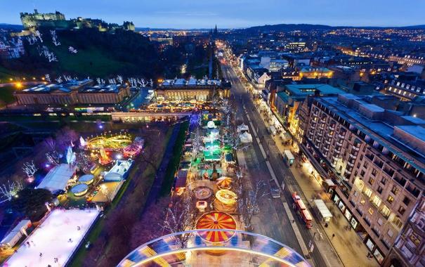 Фото обои праздник, Шотландия, Рождество, рынок, Эдинбур, Принцесс-стрит