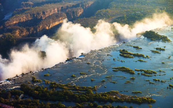 Фото обои мост, река, обрыв, скалы, водопад, каньон, панорама