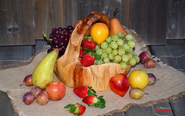 Фото обои яблоки, клубника, виноград, фрукты, сливы, груши
