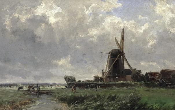 Фото обои пейзаж, природа, река, ручей, картина, Карлос де Хаэс, Голландская Мельница