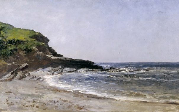 Фото обои Пляж, картина, морской пейзаж, Карлос де Хаэс
