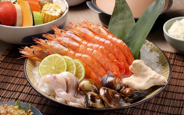 Фото обои кальмары, лимон, морепродукты, овощи, моллюски, креветки