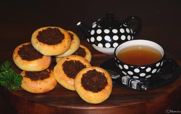 Фото обои чай, мясо, булочки