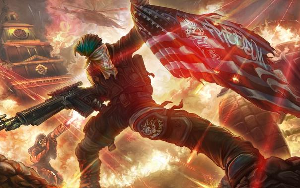 Фото обои огонь, флаг, арт, автомат, солдаты, Homefront: The Revolution, Freedom Fighters