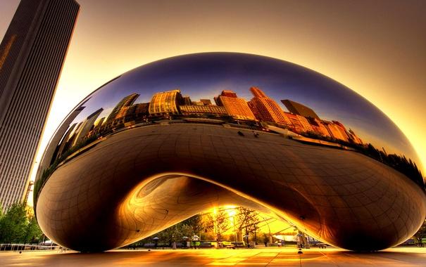 Фото обои Чикаго, США, скульптура, Аниш Капур, Облачные врата