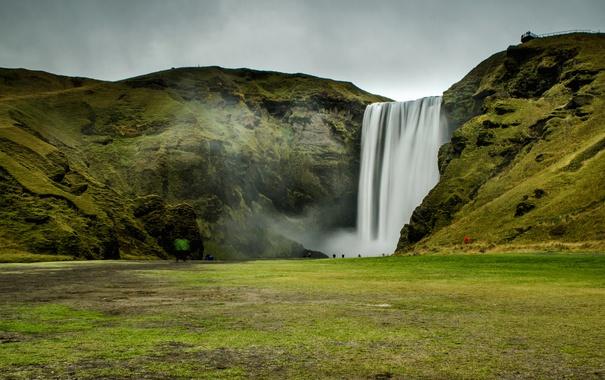 Фото обои скала, камни, водопад, мох, Исландия, Skogafoss
