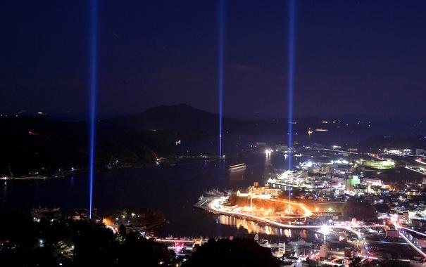 Фото обои море, пейзаж, горы, ночь, огни, Япония, Кесеннума