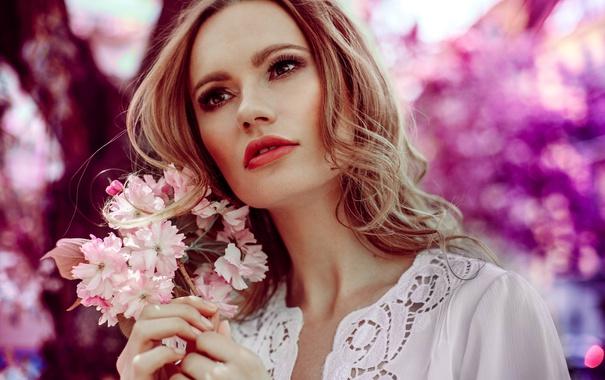 Фото обои цветы, лицо, фон, волосы, красавица