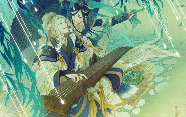 Фото обои зонт, листы, когти, уши, музыкальный инструмент, Парни