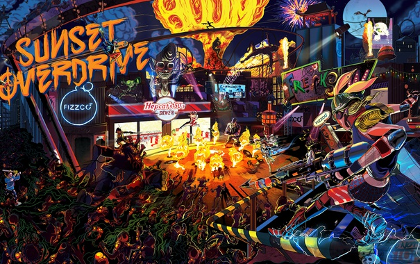 Фото обои Sunset Overdrive, Insomniac Games, Sunset City, напиток Overcharge Delirium XT, корпорации FizzCo