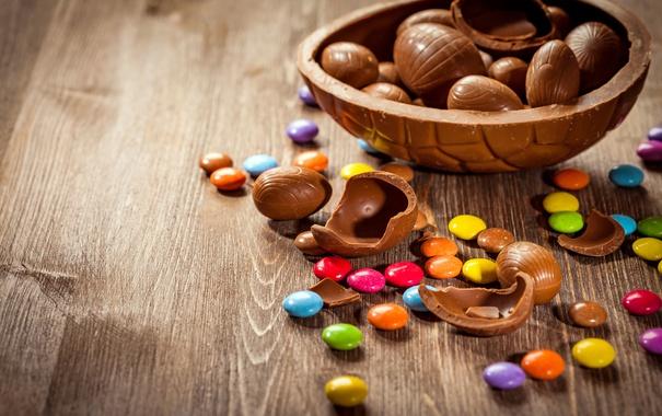 Фото обои шоколад, яйца, Пасха, chocolate, Easter, eggs, decoration