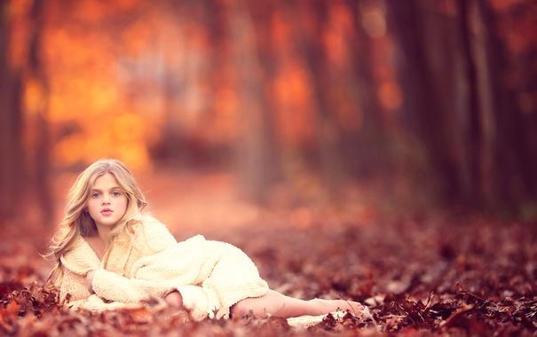 Фото обои осень, девочка, meg bitton