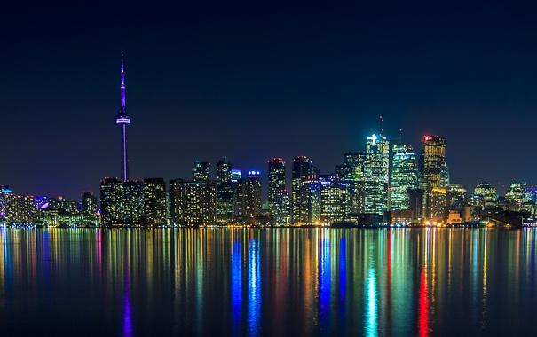 Фото обои ночь, город, огни, отражение, панорама, Canada, небоскрёбы