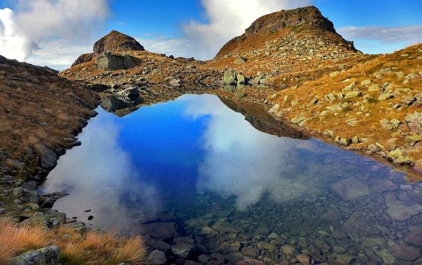 Фото обои облака, горы, озеро, отражение, Италия, Pietra Quadra