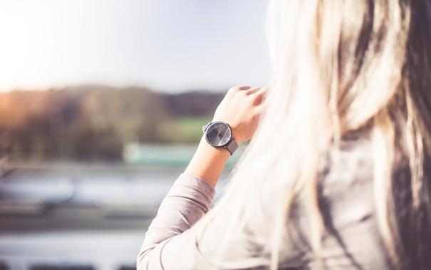 Фото обои стрелки, часы, блондинка, наручные