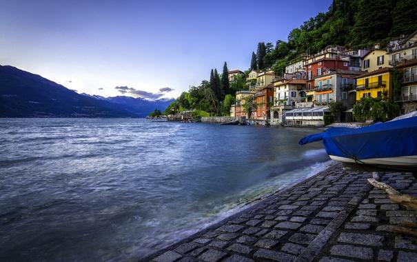 Фото обои озеро, здания, Италия, набережная, Italy, озеро Комо, Ломбардия