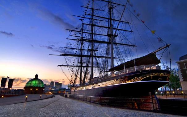 Фото обои корабль, Англия, Лондон, причал, Гринвич