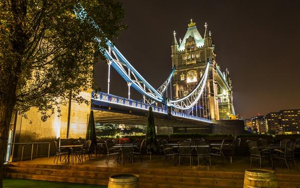 Фото обои ночь, мост, огни, Англия, Лондон, Tower Bridge
