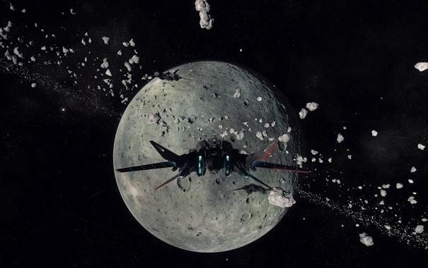 Фото обои космос, звезды, полет, осколки, корабль, планета, Star Citizen