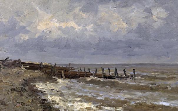Фото обои берег, картина, причал, морской пейзаж, Карлос де Хаэс, Море в Виллервиле